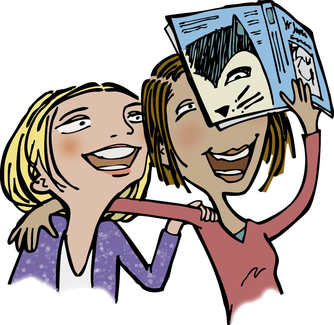 Illustration of teens making book faces