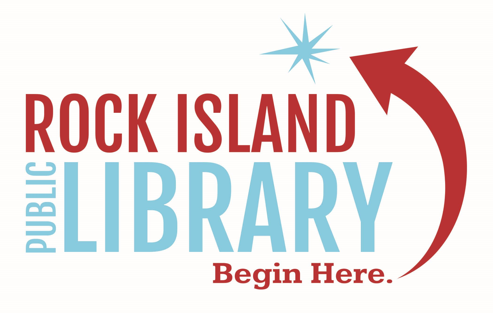 Rock Island Public Library logo, Begin Here