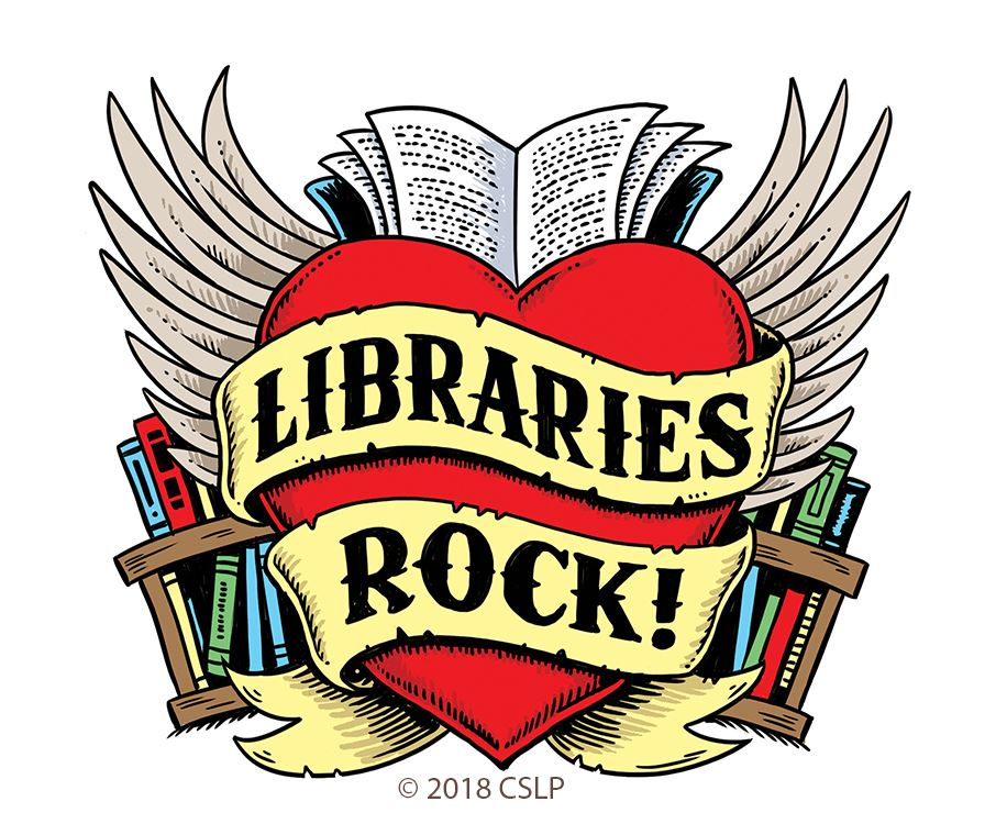 Libraries Rock Heart and Scroll and Books