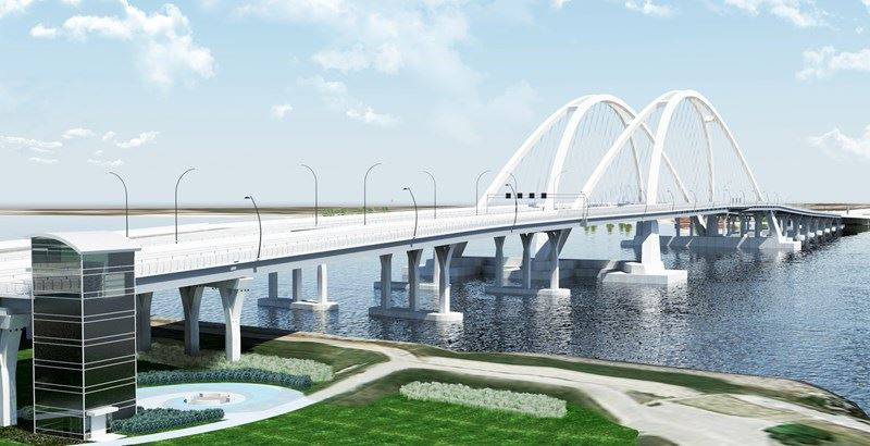 High resolution illustration of new I-74 bridge arches