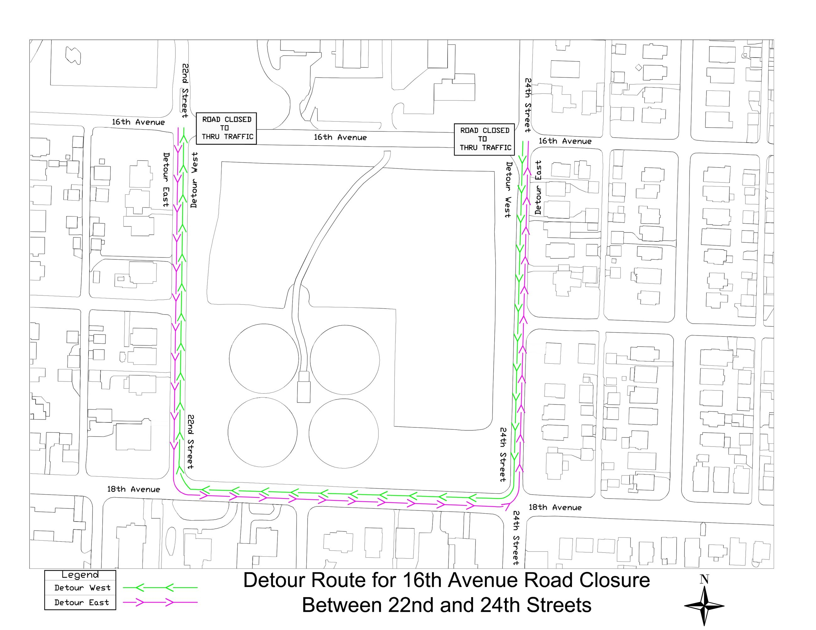 16 AV 22-24 ST Detour Map