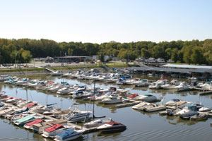Boats parked in Sunset Marina