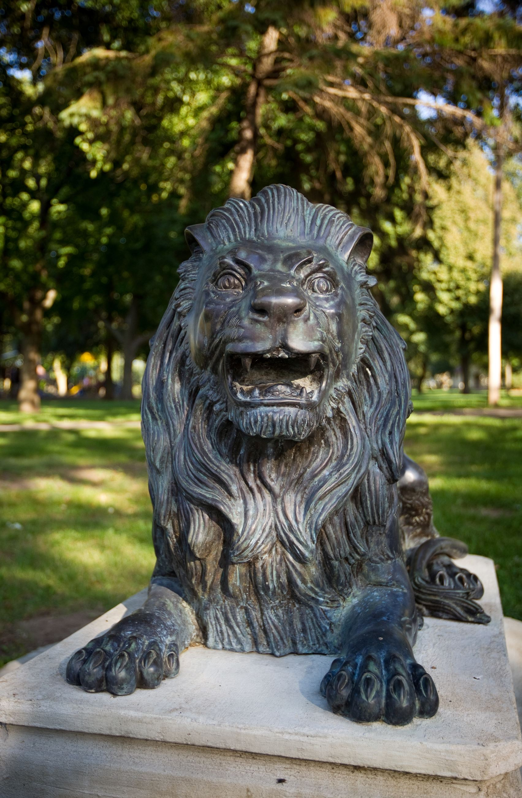 Lion Statues at Longview Park