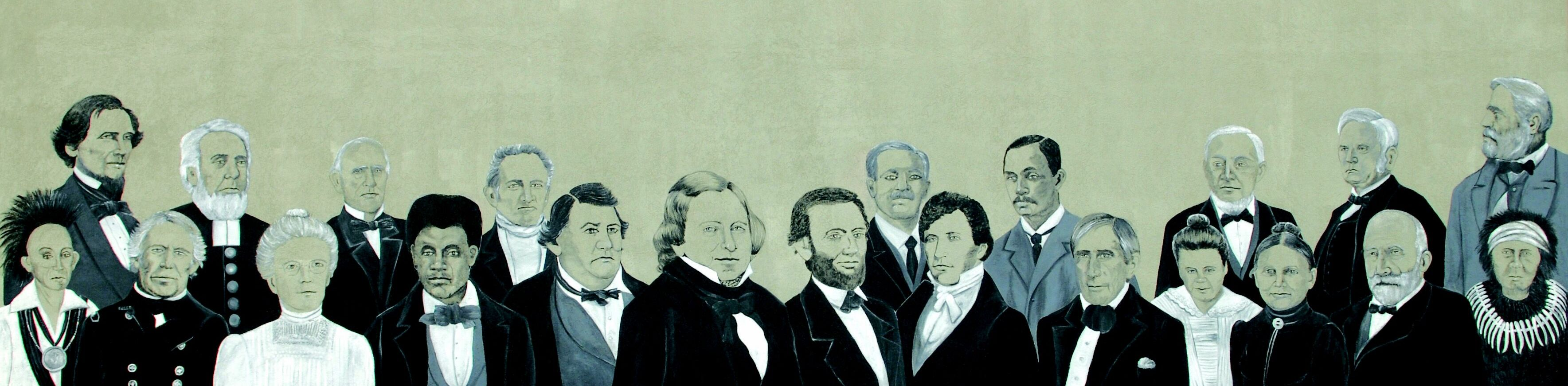 Painting of famous people including Lincoln